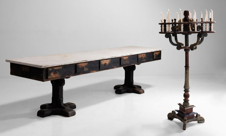 Marble and Painted Wood Console from a Convent, France, circa 1960 For Sale 3