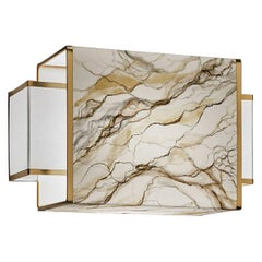 Marble Pattern Wall Light Lamps Hand Painting Parchment Ivory Gold Laminated