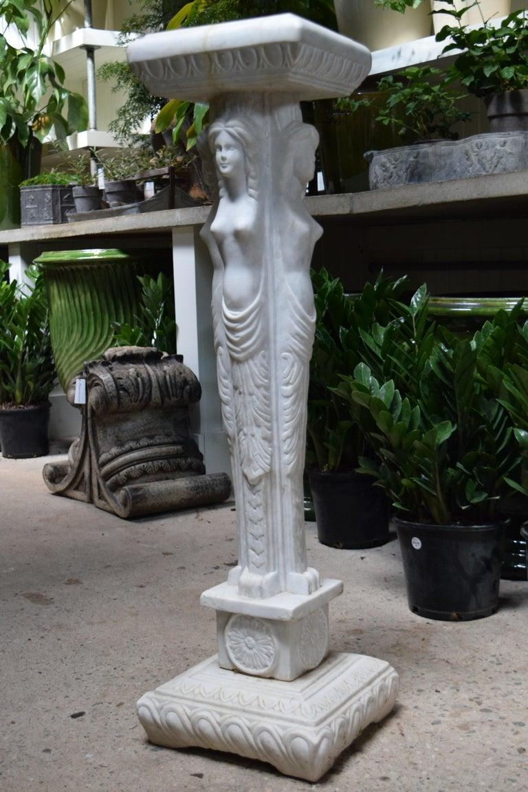 Carved Marble Plant Stand For Sale