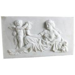 Marble Plaque Putto / Amorino & Cybele Scene, 20th Century