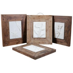 Marble Plaques with Flowers Hardwood Frames, 20th Century