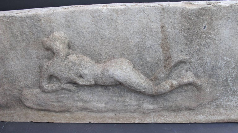 Carved Marble Relief with Reclining Nude For Sale