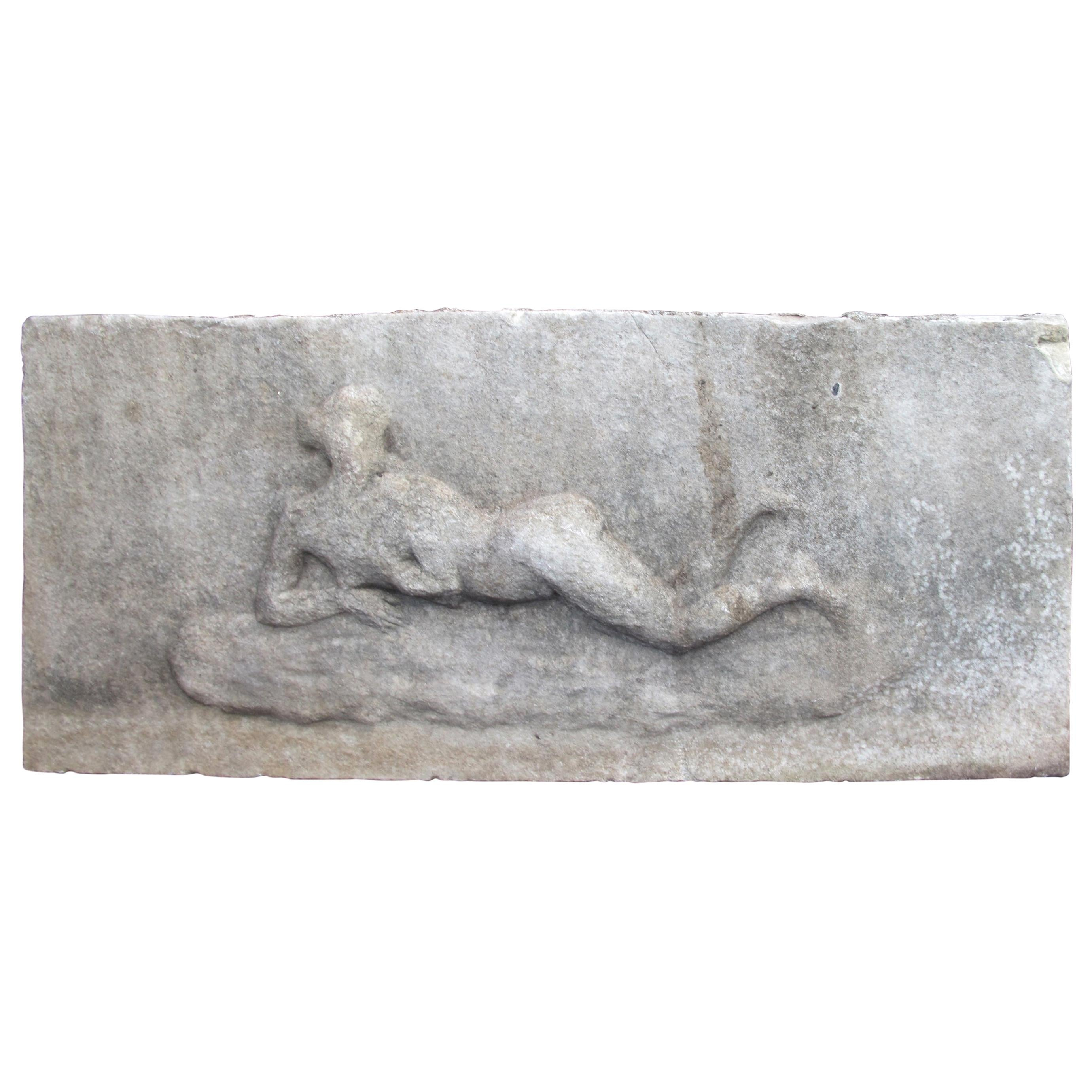 Marble Relief with Reclining Nude