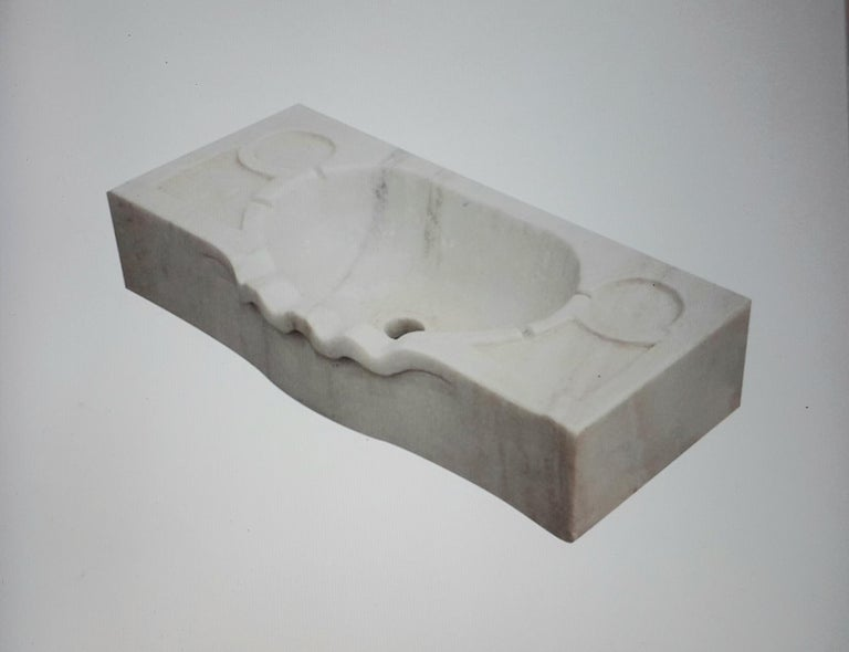 Classical Roman Marble Scalloped Sink Basin For Sale