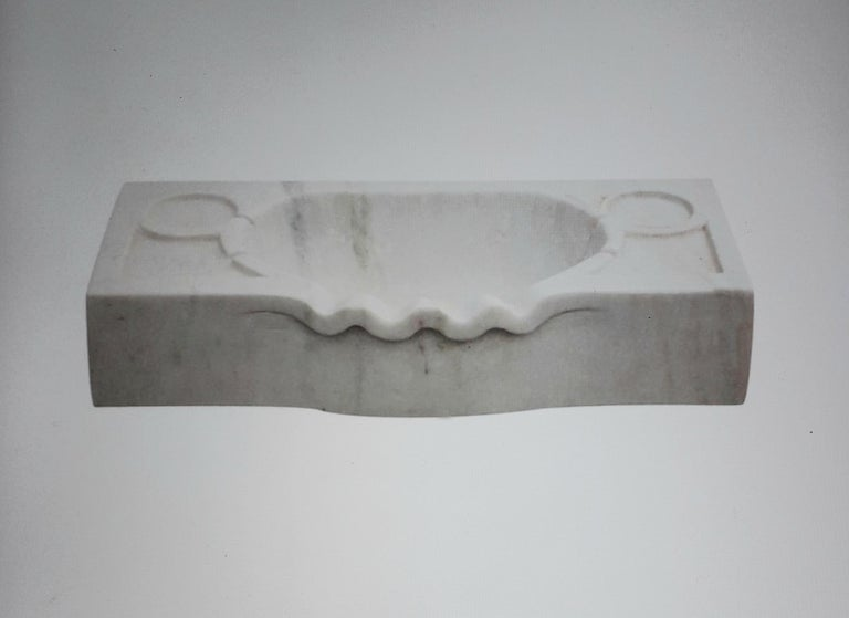 Italian Marble Scalloped Sink Basin For Sale