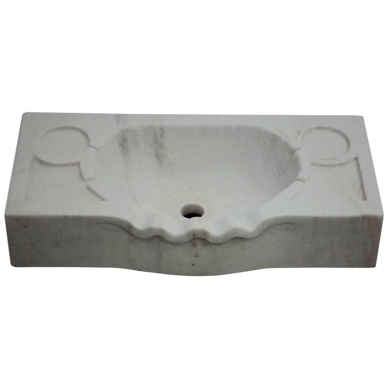 Marble Scalloped Sink Basin For Sale