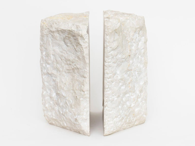 Marble sculpture by Israeli-American artist Hanna Eshel (b. 1926). Hand carved in Carrara, Italy. Eshel is a multi-disciplinary artist best known for her work in carved marble, a skill she honed from 1972-1978 while living and practicing in Carrara,