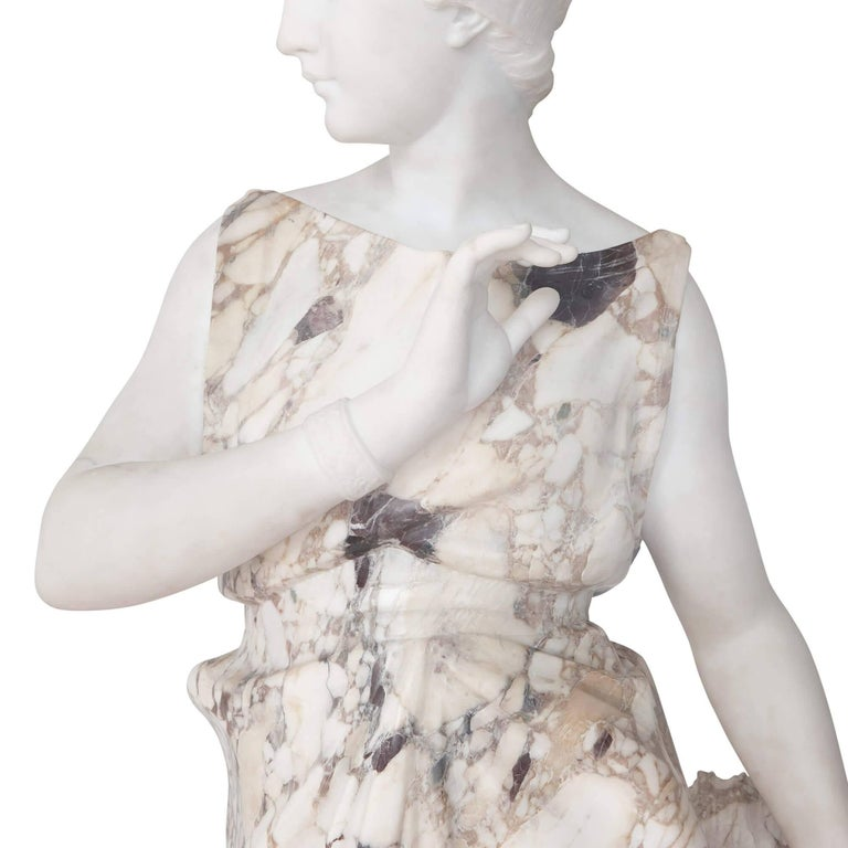 French Marble Sculpture of a Female Figure, Emblematic of Autumn For Sale