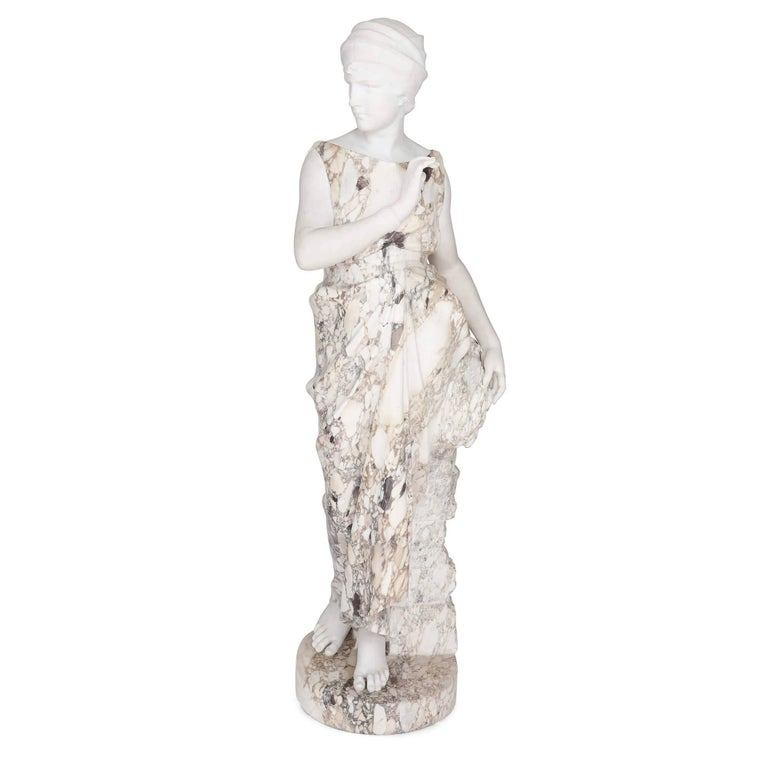 Marble Sculpture of a Female Figure, Emblematic of Autumn For Sale