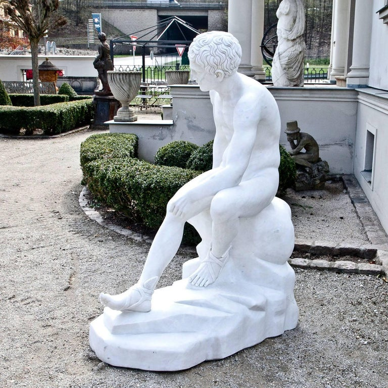 Classical Greek Marble Sculpture Resting Hermes by Lysippos, 21st Century For Sale