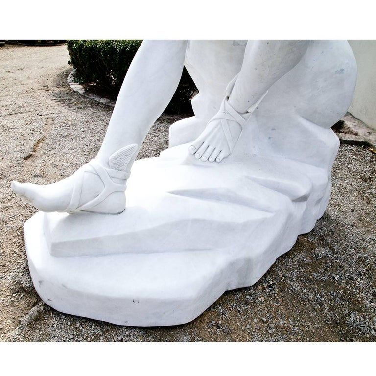 Marble Sculpture Resting Hermes by Lysippos, 21st Century In Excellent Condition For Sale In Greding, DE