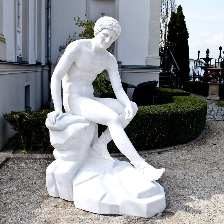 Contemporary Marble Sculpture Resting Hermes by Lysippos, 21st Century For Sale