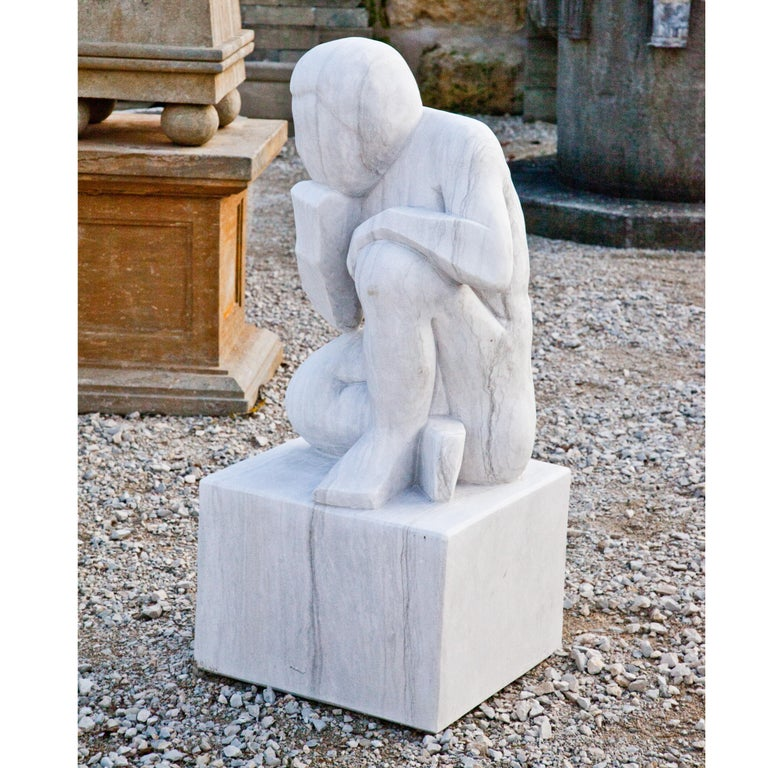 Marble Sculpture the Thinker, 21st Century In Good Condition For Sale In Greding, DE