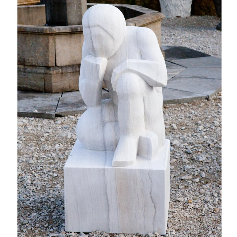 Contemporary Marble Sculpture the Thinker, 21st Century For Sale