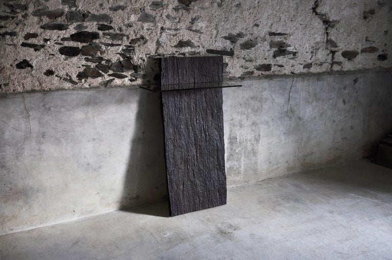 Marble slate console - Sculpted by Frédéric Saulou