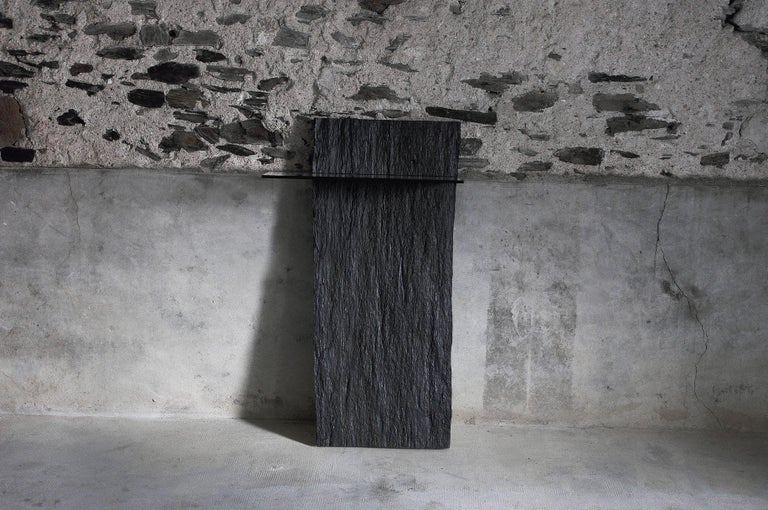 Organic Modern Marble Slate Console, Sculpted by Frédéric Saulou For Sale