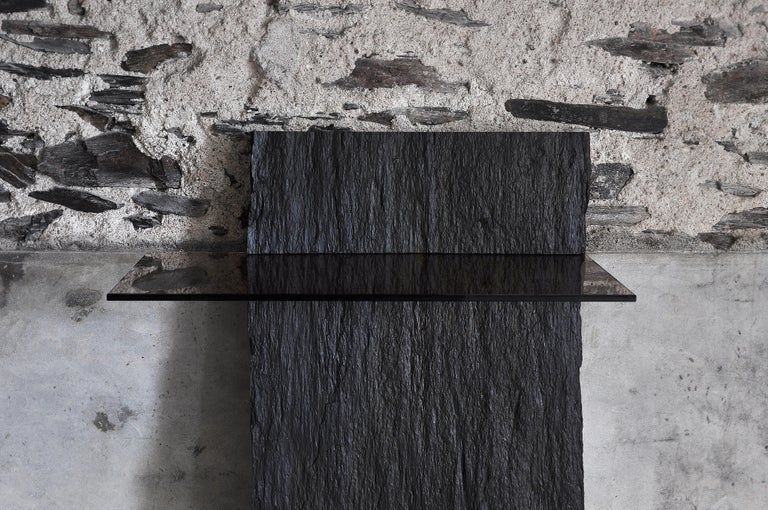 Contemporary Marble Slate Console, Sculpted by Frédéric Saulou For Sale