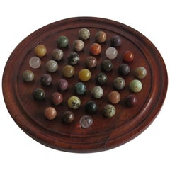 Marble Solitaire Game Hardwood Board 37 Agate Mineral Stone Marbles, circa 1915