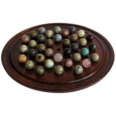 Marble Solitaire Game Polished Hardwood Board 36 Agate Stone Marbles, circa 1915