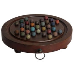 Marble Solitaire Hardwood Board with Hanging Ring 33 Clay Marbles, circa 1860
