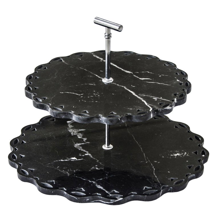 Marble Stand Cake with Lace Edge For Sale
