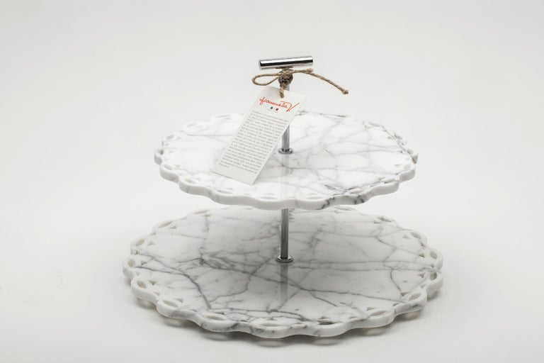 Italian Marble Stand Cake with Lace Edge in White Carrara Marble For Sale