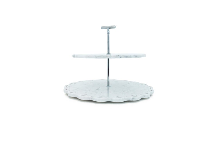 Marble Stand Cake with Lace Edge in White Carrara Marble In New Condition For Sale In Carrara, IT