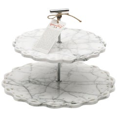 Marble Stand Cake with Lace Edge in White Carrara Marble