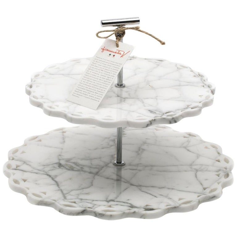 Marble Stand Cake with Lace Edge in White Carrara Marble For Sale