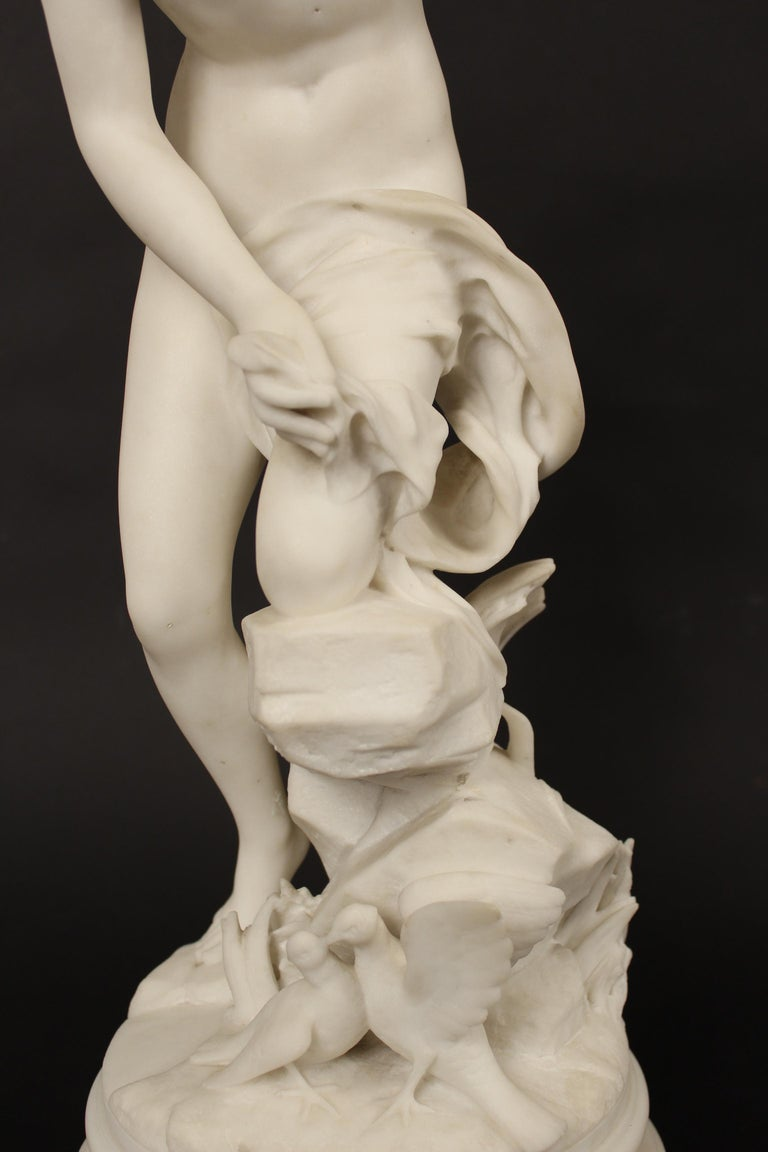 French Marble Statue by Rene Bulens For Sale