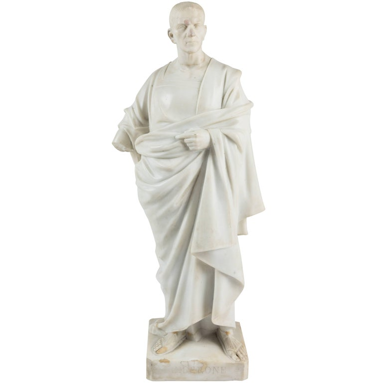 Marble Statue of a Robed Roman Figure For Sale