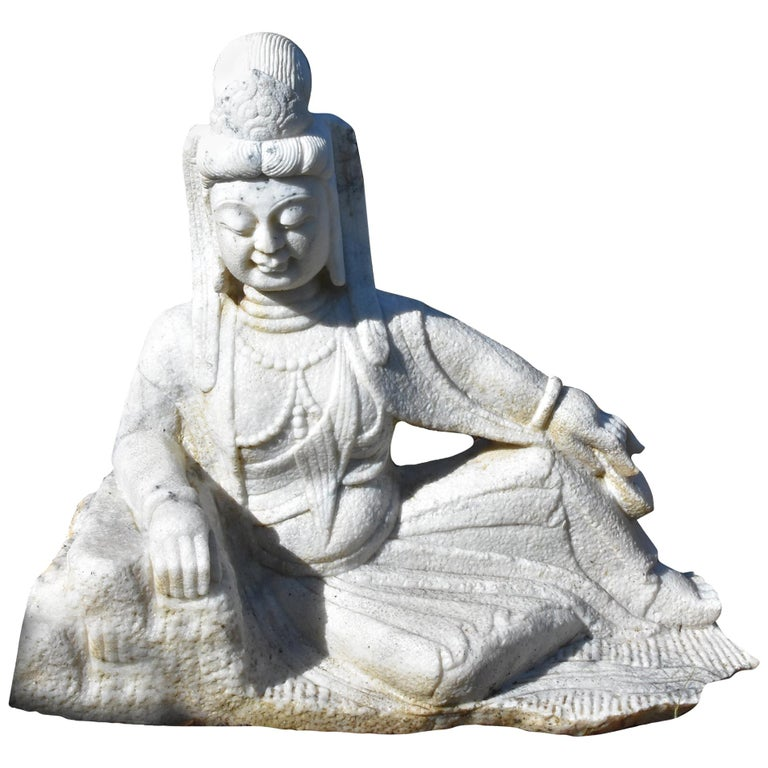 Marble Statue of Kwan Yin Avalokiteshara, Large Sculpture Buddha For Sale