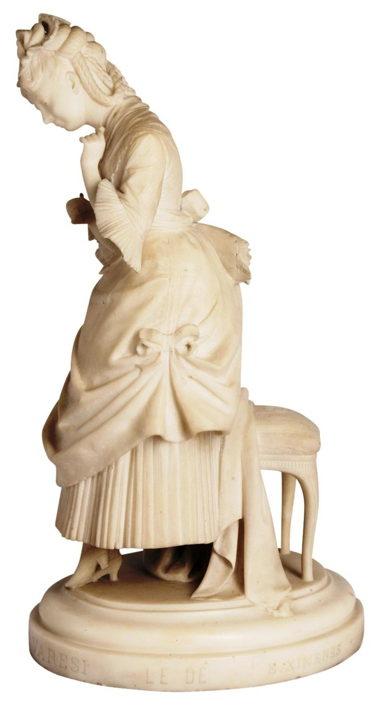 Carved Marble Statue of Young Girl, Signed Ettore Ximenes 'Italian, 1855-1926' For Sale