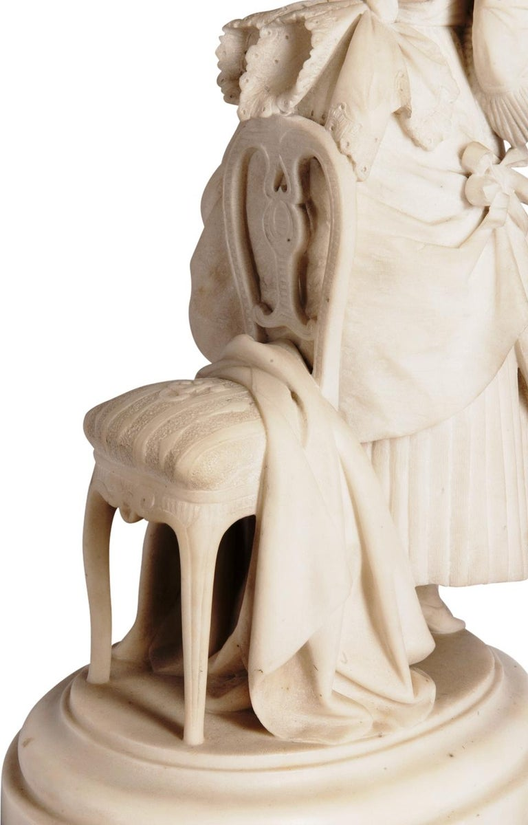 Marble Statue of Young Girl, Signed Ettore Ximenes 'Italian, 1855-1926' For Sale 1