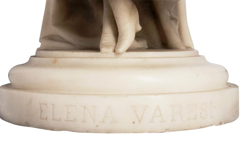 Marble Statue of Young Girl, Signed Ettore Ximenes 'Italian, 1855-1926' For Sale 3