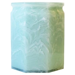 Marble Style Wastebasket or Trash Can in White and Green