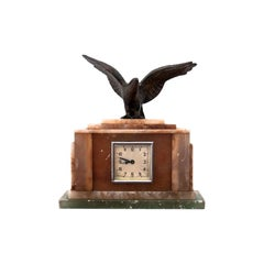 Marble Table Clock with Bird Sculpture, Germany, 1950