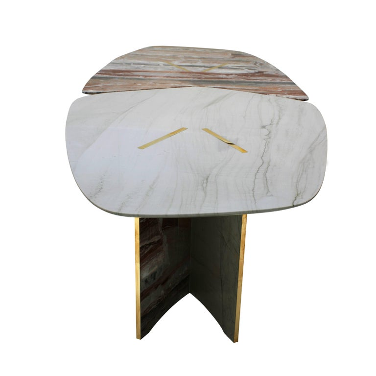 Brass Marble Table Designed by L.A. Studio For Sale