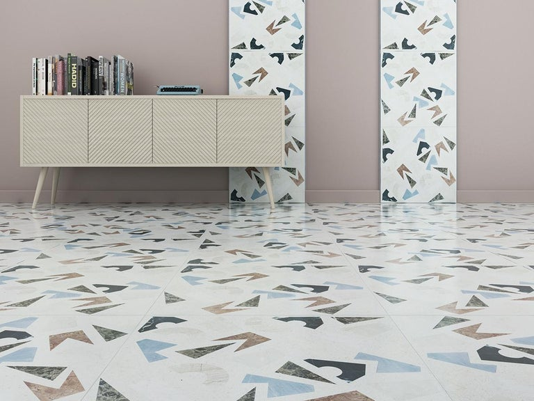 Floor tiles Terrazzo - Barena Decor Geometry with dense and rich decorativ elements that refer to the old Palladian floor usually made up with waste marble production. Composed with Botticino, Carrara, Grafite, Breccia Sarda, Rosso Verona, Emperador