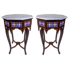 Marble, Tile and Rosewood Side Tables, 1970s