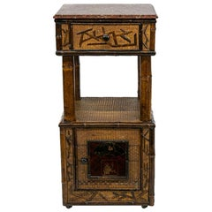 Marble-Top Bamboo Raffia and Lacquer Stand
