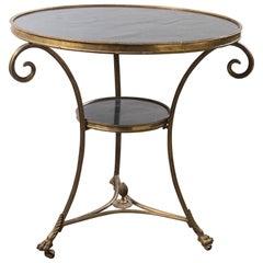 Marble-Top Brass Gueridon Table