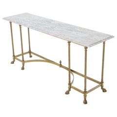 Marble Top Brass Hoof Foot Base Arch Stretcher Console Sofa Table Midcentury