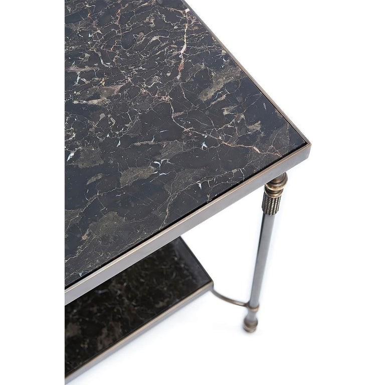 Modern Marble Top Brass Side Table For Sale