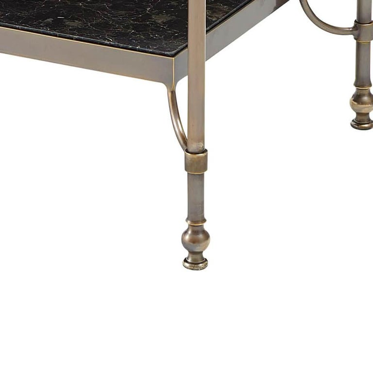 European Marble Top Brass Side Table For Sale