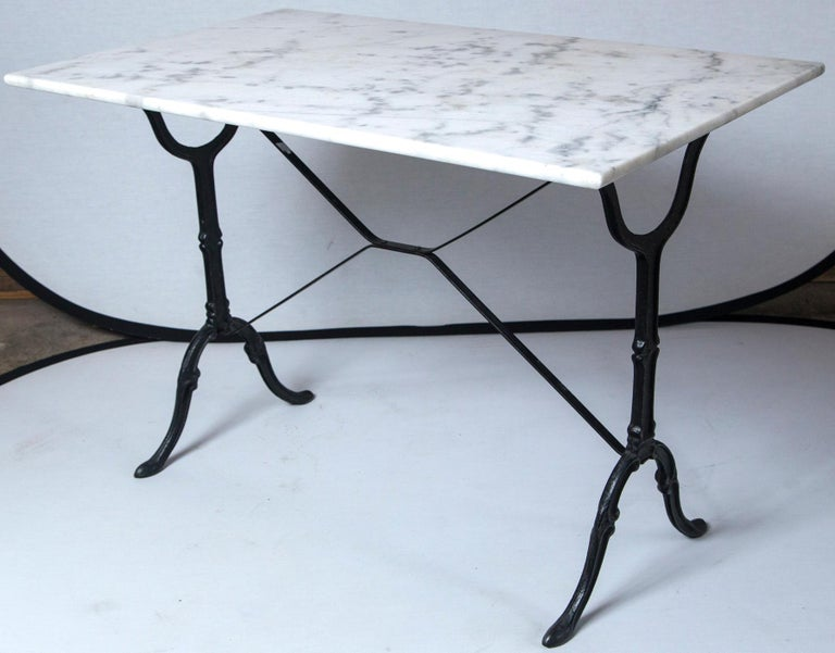 Marble Top Cast Iron Bistro Table, France, Early 20th Century For Sale 6