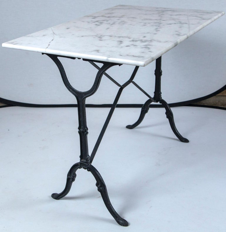 Marble Top Cast Iron Bistro Table, France, Early 20th Century For Sale 3
