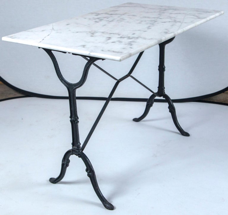 Marble Top Cast Iron Bistro Table, France, Early 20th Century For Sale 4