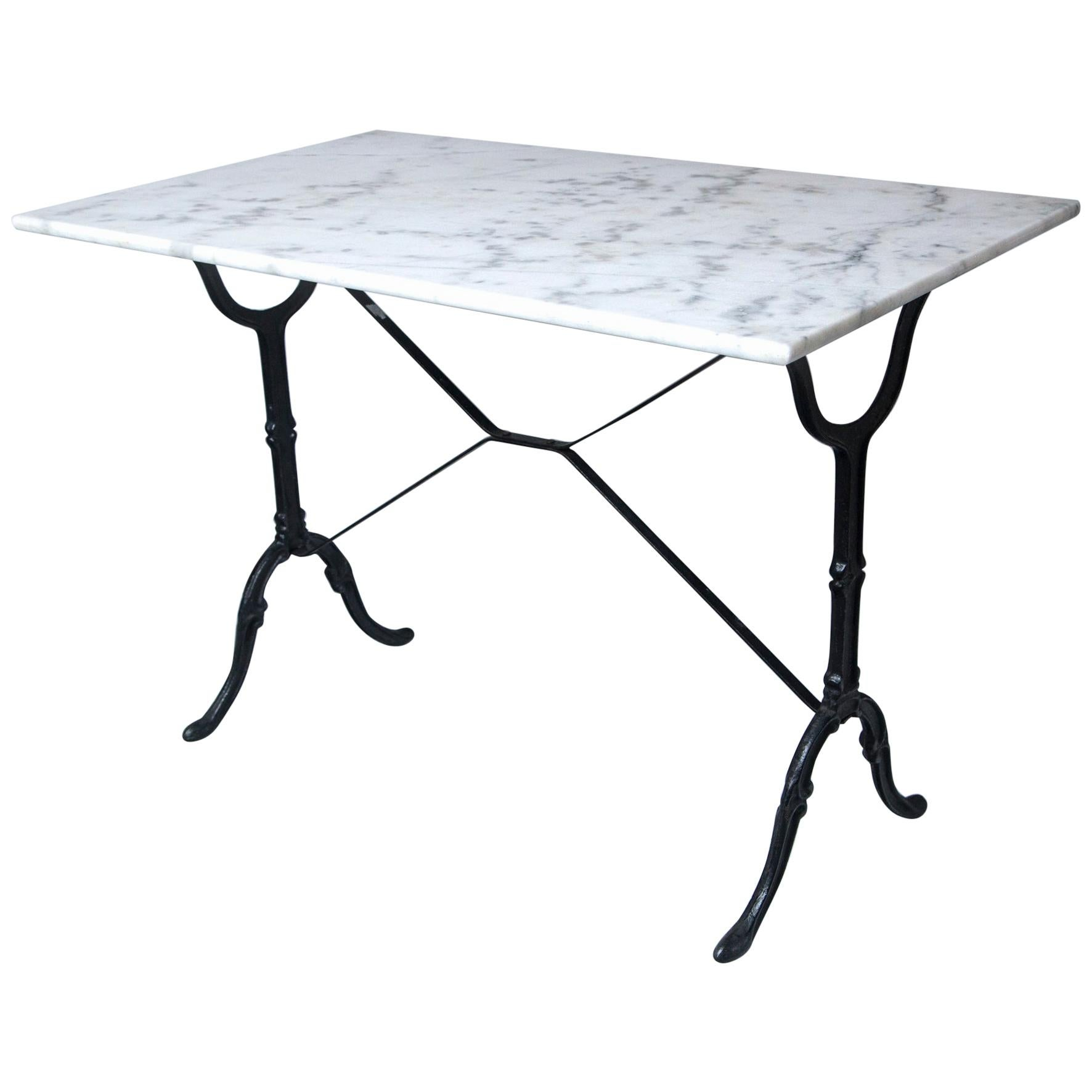 Marble Top Cast Iron Bistro Table, France, Early 20th Century