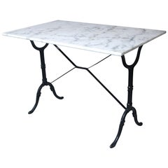 Marble-Top Cast Iron Bistro Table, France, Early 20th Century
